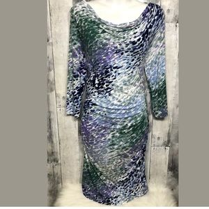 Three Dots Abstract Paint Cowl Neck Ruched Dress